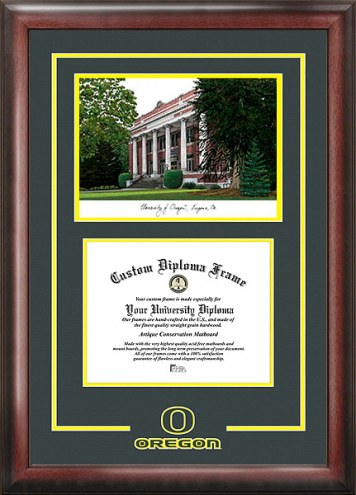 Oregon Ducks Spirit Diploma Frame with Campus Image