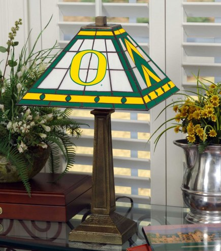 Oregon Ducks Stained Glass Mission Table Lamp