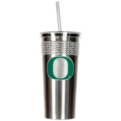 Oregon Ducks Stainless Steel Bling Tumbler with Straw