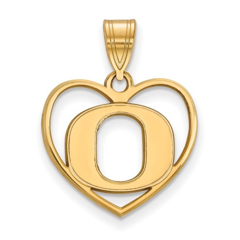 Oregon Ducks Sterling Silver Gold Plated Heart Pendant