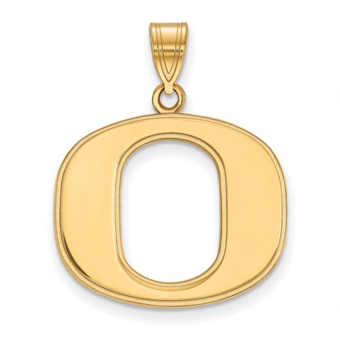 Oregon Ducks Sterling Silver Gold Plated Large Pendant
