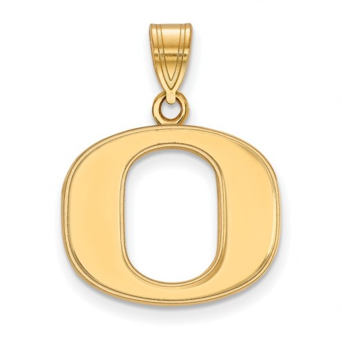 Oregon Ducks Sterling Silver Gold Plated Medium Pendant