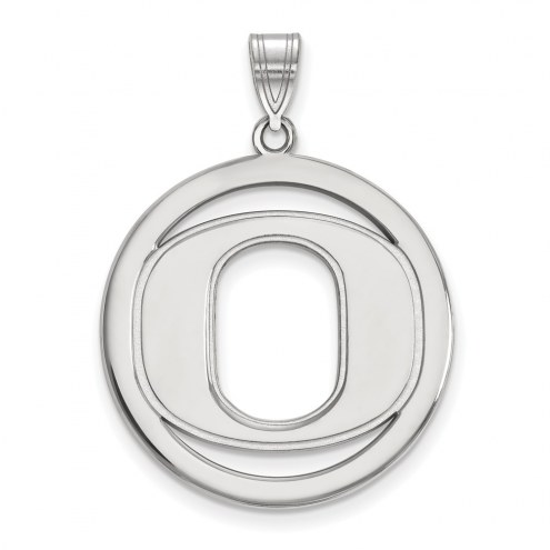 Oregon Ducks Sterling Silver Large Circle Pendant
