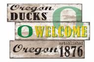 Oregon Ducks Welcome 3 Plank Sign