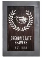 """Oregon State Beavers 11"""" x 19"""" Laurel Wreath Framed Sign"""
