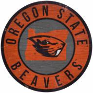 """Oregon State Beavers 12"""" Circle with State Sign"""