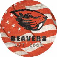 "Oregon State Beavers 12"" Team Color Flag Circle Sign"