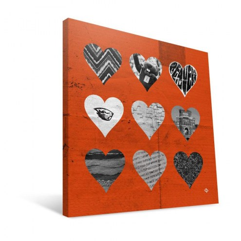 "Oregon State Beavers 12"" x 12"" Hearts Canvas Print"