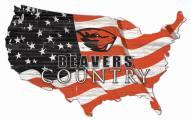 """Oregon State Beavers 15"""" USA Flag Cutout Sign"""