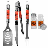 Oregon State Beavers 3 Piece Tailgater BBQ Set and Salt and Pepper Shakers