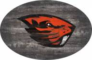 """Oregon State Beavers 46"""" Distressed Wood Oval Sign"""