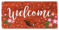 """Oregon State Beavers 6"""" x 12"""" Floral Welcome Sign"""