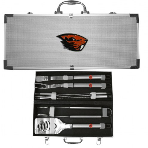 Oregon State Beavers 8 Piece Stainless Steel BBQ Set w/Metal Case
