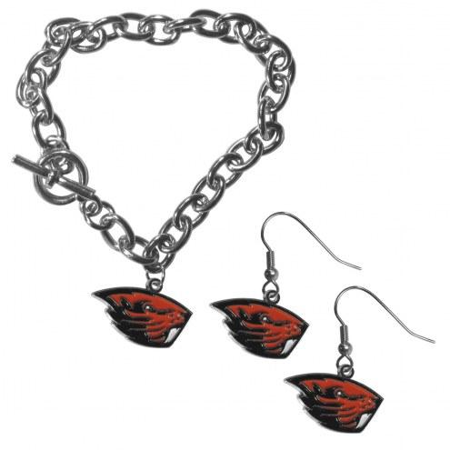 Oregon State Beavers Chain Bracelet & Dangle Earring Set
