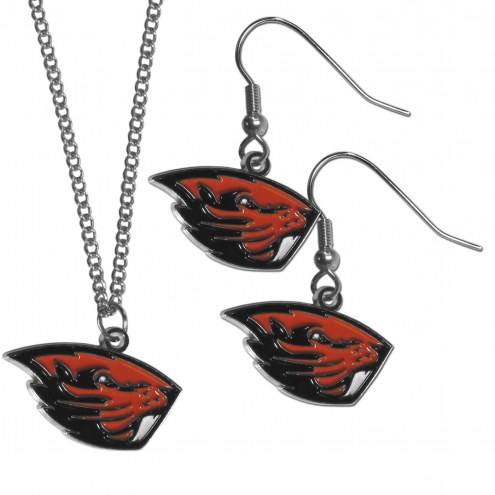 Oregon State Beavers Dangle Earrings & Chain Necklace Set
