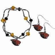 Oregon State Beavers Dangle Earrings & Crystal Bead Bracelet Set