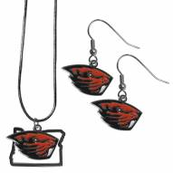 Oregon State Beavers Dangle Earrings & State Necklace Set