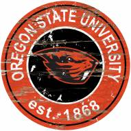 Oregon State Beavers Distressed Round Sign