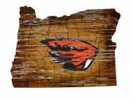 Oregon State Beavers Distressed State with Logo Sign