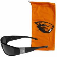 Oregon State Beavers Etched Chrome Wrap Sunglasses & Bag