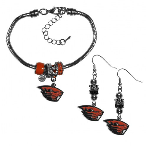 Oregon State Beavers Euro Bead Earrings & Bracelet Set