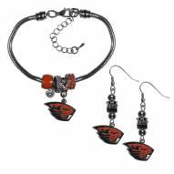 Oregon State Beavers Euro Bead Earrings & Bracelet Set