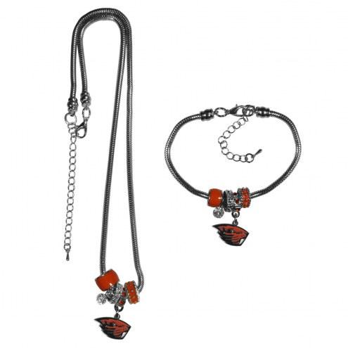 Oregon State Beavers Euro Bead Necklace & Bracelet Set