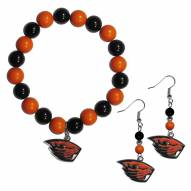Oregon State Beavers Fan Bead Earrings & Bracelet Set