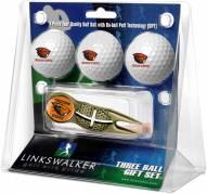 Oregon State Beavers Gold Crosshair Divot Tool & 3 Golf Ball Gift Pack