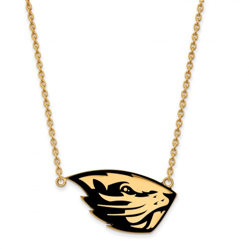 Oregon State Beavers Sterling Silver Gold Plated Large Enameled Pendant Necklace