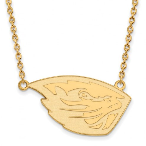 Oregon State Beavers Sterling Silver Gold Plated Large Pendant with Necklace