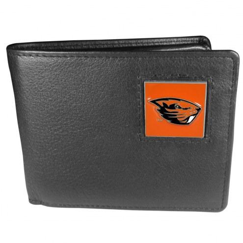Oregon State Beavers Leather Bi-fold Wallet in Gift Box