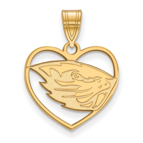 Oregon State Beavers Sterling Silver Gold Plated Heart Pendant