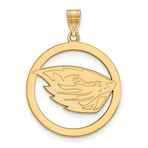 Oregon State Beavers Sterling Silver Gold Plated Large Circle Pendant