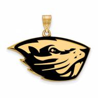 Oregon State Beavers Sterling Silver Gold Plated Large Enameled Pendant