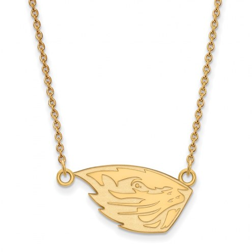 Oregon State Beavers Sterling Silver Gold Plated Small Pendant Necklace