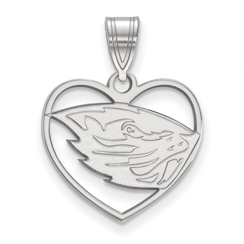 Oregon State Beavers Sterling Silver Heart Pendant