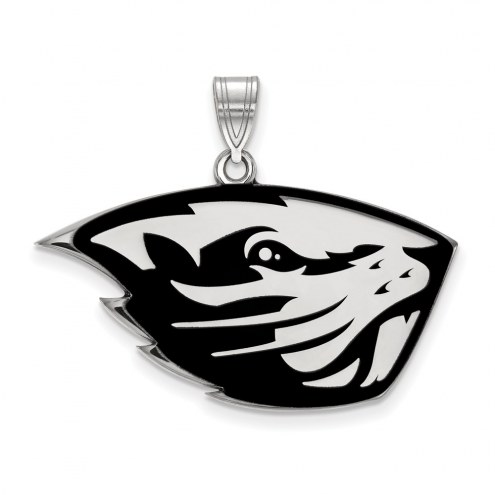 Oregon State Beavers Sterling Silver Large Enameled Pendant
