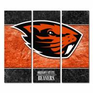 Oregon State Beavers Triptych Double Border Canvas Wall Art