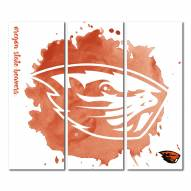 Oregon State Beavers Triptych Watercolor Canvas Wall Art