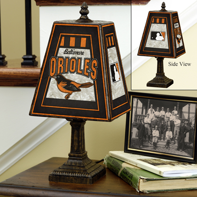 Baltimore Orioles MLB Hand-Painted Art Glass Table Lamp