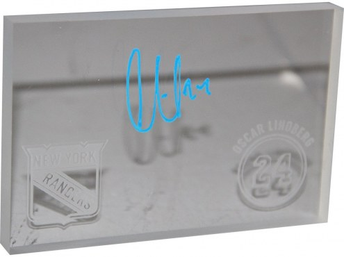 Oscar Lindberg Signed Piece of Plexiglass From Madison Square Garden w/ Etched Rangers Logo & Number