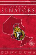 "Ottawa Senators 17"" x 26"" Coordinates Sign"