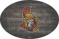 """Ottawa Senators 46"""" Distressed Wood Oval Sign"""