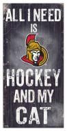 """Ottawa Senators 6"""" x 12"""" Hockey & My Cat Sign"""