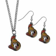 Ottawa Senators Dangle Earrings & Chain Necklace Set