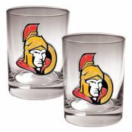 Ottawa Senators NHL Rocks Glass - Set of 2