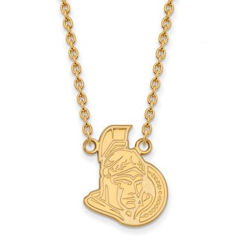 Ottawa Senators Sterling Silver Gold Plated Large Pendant Necklace