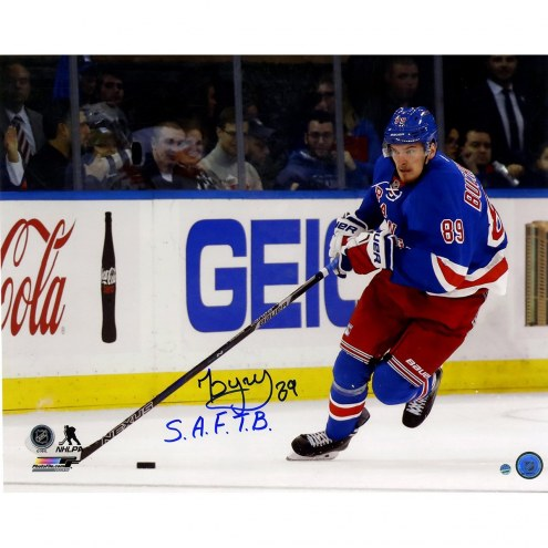 "Pavel Buchnevich Signed 'Skating with Puck' 16 x 20 Photo w/ ""S.A.F.T.B"""