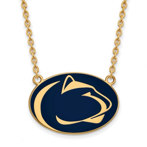 Penn State Nittany Lions Sterling Silver Gold Plated Large Enameled Pendant Necklace